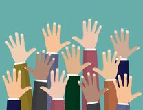 Raised up hands. Volunteering charity, concept of education, business training. Raised up hands. Volunteering charity, concept of education, business training Royalty Free Stock Images
