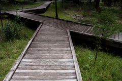 Raised Walkway. Raised wooden walkway over an often marshy area, overgrown with grass Stock Photos