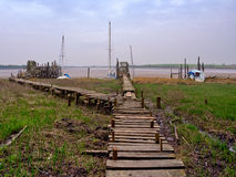 Raised wooden jetty Stock Photos