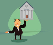 Raises one arm of the bank building Stock Photo