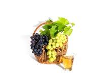 Raisin avec les feuilles et le jus de raisins d'isolement sur le blanc Photographie stock