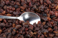 Raisin background and teaspoon Royalty Free Stock Photos