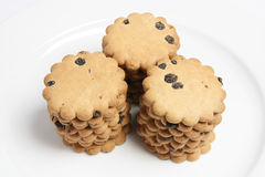 Raisin Biscuits Stacked on Plate Stock Images
