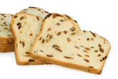 Raisin bread. Isolated on white background Royalty Free Stock Photography