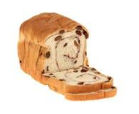 Raisin Bread. Loaf of sliced raisin bread isolated on white Royalty Free Stock Photos