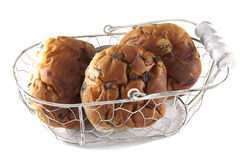Raisin bread. Three raisin buns on a white background Stock Photography