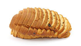 Raisin bread. Single loaf of sliced raisin sweet bread on a white background Royalty Free Stock Images