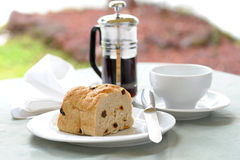 Raisin Bread. Meal setting including fresh baked raisin bread and coffee Royalty Free Stock Photo