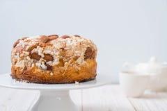 Raisin bread cake with almond. Italian dessert style Stock Photography