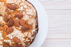 Raisin bread cake with almond. Italian dessert style Royalty Free Stock Photography