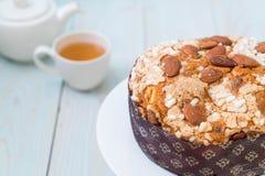 Raisin bread cake with almond. Italian dessert style Royalty Free Stock Photos