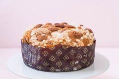 Raisin bread cake with almond. Italian dessert style Royalty Free Stock Photo