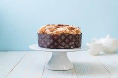 Raisin bread cake with almond. Italian dessert style Royalty Free Stock Image