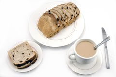 Raisin bread and coffee Royalty Free Stock Photos