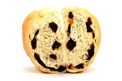 Raisin bread isolated on white background Royalty Free Stock Photography