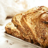 Raisin bread on a silver plate Stock Images