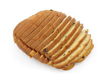 Raisin bread on white background. A freshly baked loaf of raisin sweet bread on a white background Royalty Free Stock Photography