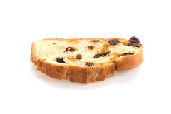 Raisin bread. On white background Royalty Free Stock Image