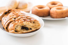 Raisin bread. On white plate Royalty Free Stock Images