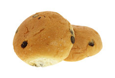 Raisin Buns Stacked. A stack of two large raisin sweet buns Royalty Free Stock Photo