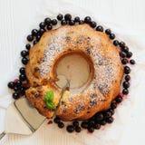 Raisin cake with icing sugar, flat lay Royalty Free Stock Photos