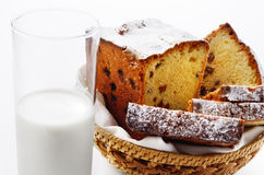 Raisin cake and milk Royalty Free Stock Image