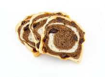 Raisin chocolate bread on white background Stock Images