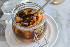 Raisin compote in glass jars Stock Photo