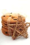 Raisin cookies  and Christmas star Stock Photo