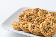 Raisin cookies. 3 rows of delicious  raisin cookies in white rectangular plate Stock Images
