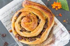 Raisin Danish pastry swirl, brioche Royalty Free Stock Photo