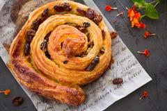 Raisin Danish pastry swirl, brioche, top view Royalty Free Stock Image