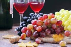 Raisin doux de différentes sortes et de vin rouge Photos libres de droits