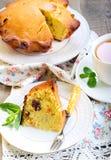 Raisin & dry apricot cake and tea Stock Photos
