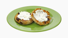 Raisin English Muffins Whipped Cream Cheese Royalty Free Stock Photography