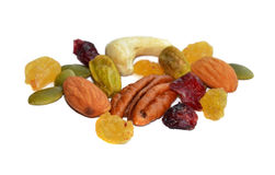 Raisin and Mixed nuts. On white background royalty free stock photo