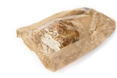 Raisin nuts bread pack in used brown paper bag. Raisin nuts bread pack in used brown paper bag royalty free stock photo