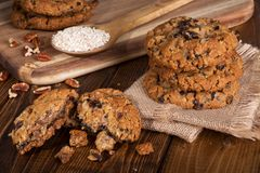 Raisin Pecan Oatmeal Cookies on a Rustic Wooden Surface Stock Photos