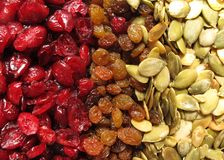Raisin and pumpkin seeds Stock Photos