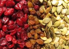 Raisin and pumpkin seeds Stock Photos