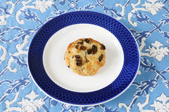Raisin scone on plate Stock Image