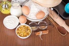 Raisin, sesame, cinnamon and vanilla pods Stock Image