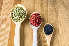 Raisin, thyme, black cumin Royalty Free Stock Images