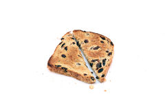 Raisin toast. Cut in half over white background Royalty Free Stock Photography