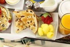 Raisin Toast breakfast. Delicious packed breakfast tray with raisin toast ready to serve Stock Image