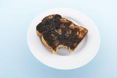 Raisin Toast on Plate. On Blue Background Stock Photography