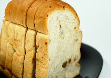 Raisin and Walnut Loaf. Sliced raisin and walnut bread on the plate with copy space Royalty Free Stock Photos