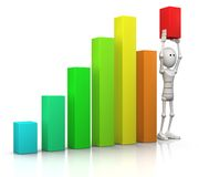 Raising the bar. 3d character stands in a bar chart and raises the last bar above all others - 3d illustration/render Stock Image