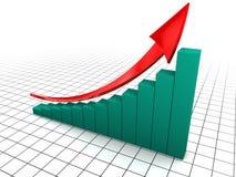 Raising charts. 3d illustration of raising charts and upward arrow, over grid background Royalty Free Stock Image