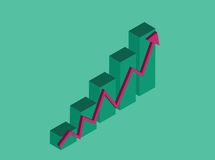 Raising charts. A graphic showing growing chart, vector illustration vector illustration